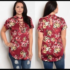 Tops - Plus Size🎉HP 3-24-18🎉Wine Mock Lace Up